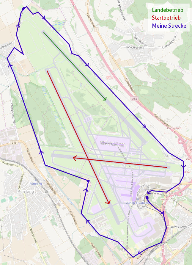 Karte Flughafen Zürich