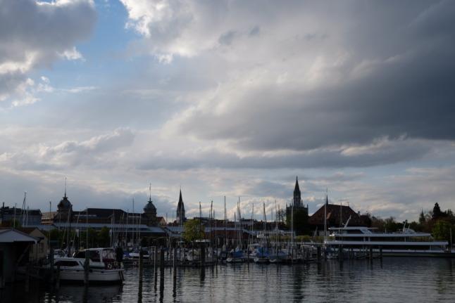 Hafen Konstanz mit Wolken